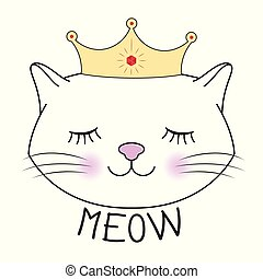 Cute kitty princess silhouette. Head of Cat with lettering ...