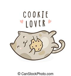 Cute kitty with cookie.