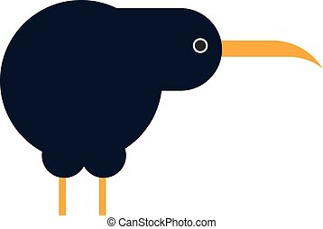 North island brown kiwi bird cartoon flat vector illustration.