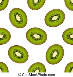 Cute kiwi seamless pattern on a white background. Fluffy half kiwi fruits. Illustration with half kiwi fruits