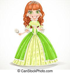 cute, klæde, grønne, prinsesse
