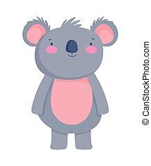 cute koala animal cartoon character on white background