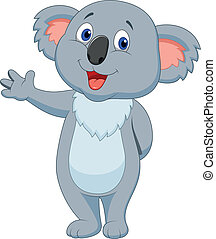 cute, koala, caricatura, mão, waving