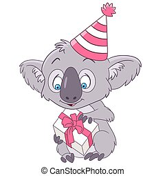cute, koala, caricatura, partido