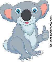 cute, koala, caricatura, polegares cima