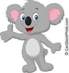 cute, koala, caricatura, posar