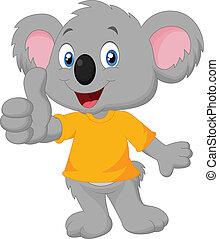 Cute koala cartoon giving thumb up