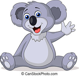 Cute koala cartoon waving hand - Vector illustration of kute...