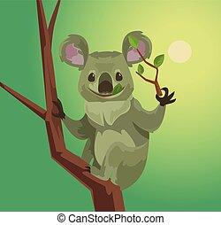 Cute koala character eating eucalyptus leaves. Vector flat cartoon illustration