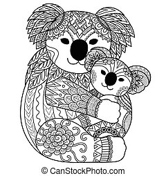 Cute Koala - Koala mother cuddling her baby zendoodle design...