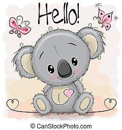 cute, koala, hilsen card, cartoon