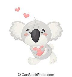 Cute koala in love. Vector illustration on white background.