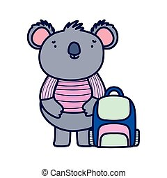 cute koala with shirt and speech bubble cartoon