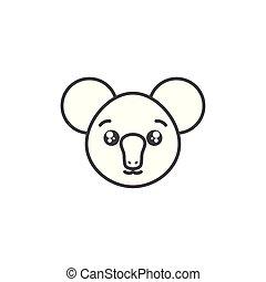 cute koala woodland animal line style icon