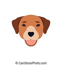 cute, língua, cão, fora., rosto