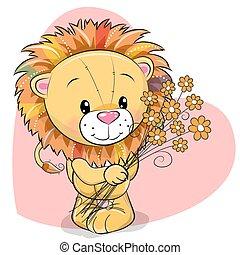 cute, løve, blomster, hilsen card