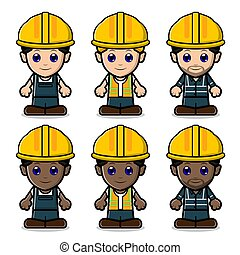 Cute Labor Construction Set Collection