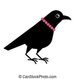 Cute lady female raven crow mascot cartoon character in beads