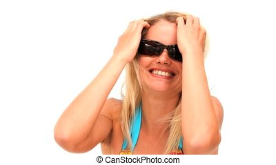 Cute lady in swimsuit with sunglass