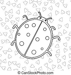 Cute ladybird coloring book page. Outlined illustration of a ladybug. Vector.