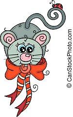cute, ladybug, arco, camundongo vermelho, fita