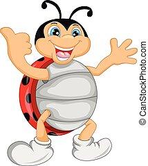 cute, ladybug, caricatura, polegar cima