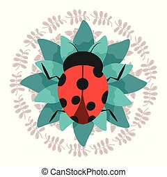 cute ladybug on green flower with wreath decoration