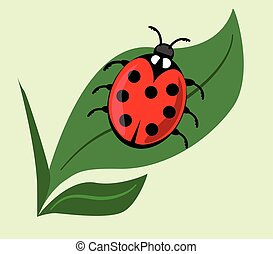 Cute ladybug on green leaf isolated onlight green background. Vector ladybird illustration, beautiful red beetle with seven dots on his wing case