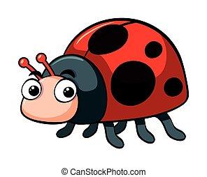 Cute ladybug on white background