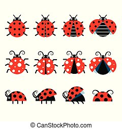 Cute ladybug vector icons. Cartoon-style bug icons
