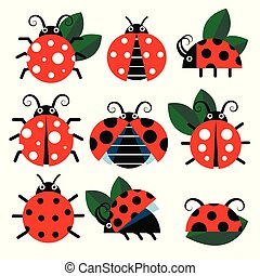 Cute ladybug vector icons. Cartoon-style bugs and leaves
