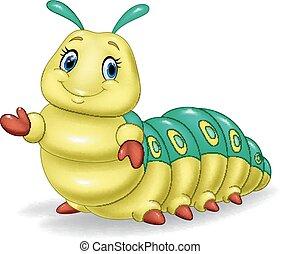 cute, lagarta, apresentando