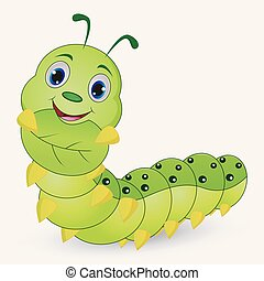 cute, lagarta, caricatura, segurando, folhas