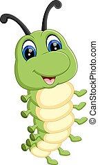 cute, lagarta, caricatura