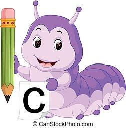 cute, lagarta, segurando, lápis