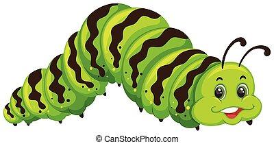 cute, lagarta, verde, caricatura
