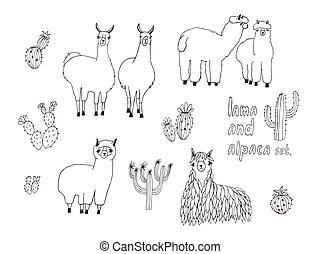 Cute Lama, Alpaca and cactuses set. Hand drawn vector...