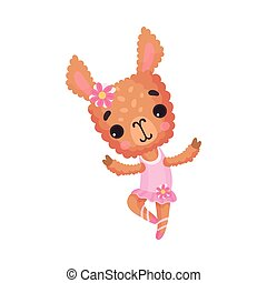 Cute Lama in Ballerina Dress and Flower on Head Dancing Vector Illustration