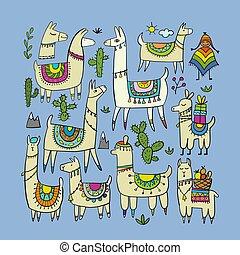 cute, lamas, desenho, seu, cobrança