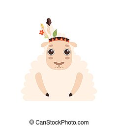 Cute Lamb Animal Wearing Indian Traditional Tribal Headdress with Feathers, Leaves and Flowers Vector Illustration
