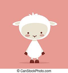 Cute lamb character,  illustration