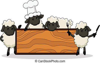 cute lamb cooks with diverse charac - vector illustration of...