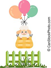 Cute lamb flying in basket with balloons about green fence on field