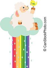Cute lamb on cloud rainbow with birdie
