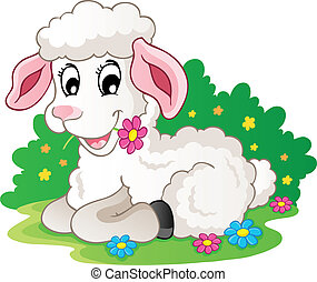 Cute lamb with flowers - vector illustration.