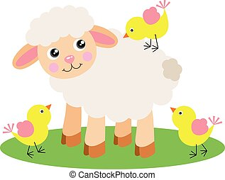 Cute lamb with three yellow birds