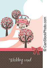 wedding card - cute landscape with car and trees, wedding ...