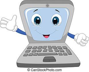 Cute laptop cartoon waving hand