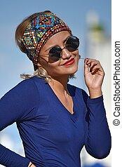 Cute Latina Female Woman Wearing Sunglasses