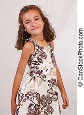 Cute Latina Girl with brown dress